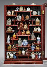 SNUFF BOTTLE COLLECTION IN DISPLAY CASE