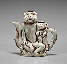 Chinese Glazed Porcelain Monkey Ewer