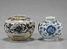 Two Antique Anamese Blue & White Jarlets