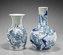Two Antique Chinese Blue & White Vases