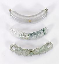 Three Chinese Carved Jade Beads