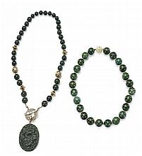 Two Chinese Carved Spinach Jade Necklaces