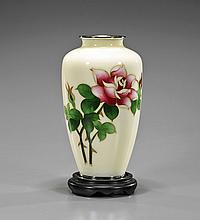 Chinese Cloisonné Enameled Rose Vase