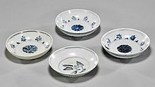 Four Early Ming Blue & White Porcelain Dishes