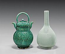 Two Chinese Glazed Bottle Vase & Spouted Vessel