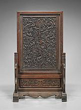 Chinese Carved Wood Dragon Tablescreen