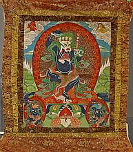 Two Sino-Tibetan Painted Thangkas: Simhamukha & Multi-Armed Deity