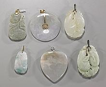 Group of Six Chinese Carved Jade Pendants