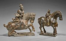 Two Chinese Carved Hardstone Equestrians