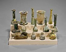 Fourteen Ancient Roman Miniature Glass Vessels