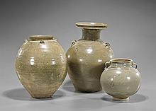 Three Jin Dynasty Glazed Pottery Vessels