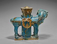 Ming Dynasty Blue Earthenware Elephant