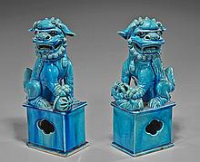 Pair Old Chinese Turquoise Glazed Seated