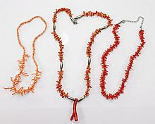 Three Coral Branch & Nugget Necklace