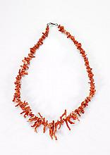 Red Coral Nugget & Branch Necklace