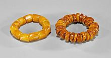 Two Amber Nugget Bracelets