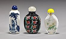 Three Snuff Bottles: Landscape & Flowers