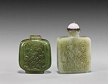 Two Snuff Bottles: Jade & Quartzite