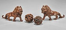 Four Chinese Wood Carvings: Lions & Balls
