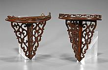 Pair Chinese Carved Wood Wall Shelves