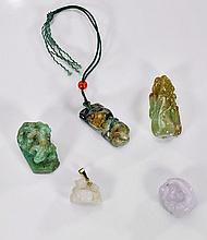 Five Chinese Jade & Jadeite Pendants/Toggles