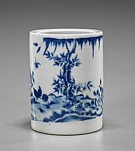 Chinese Blue & White Porcelain Brushpot