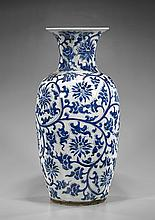 Tall Chinese Blue & White Porcelain Vase