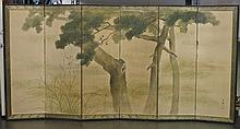 Chinese Six-Panel Paper Screen: Birds in Pine