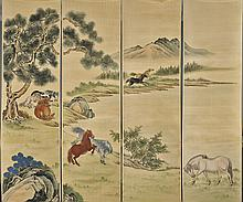 Three Sets Chinese Unmounted Screens: Landscape, Horses, Sea
