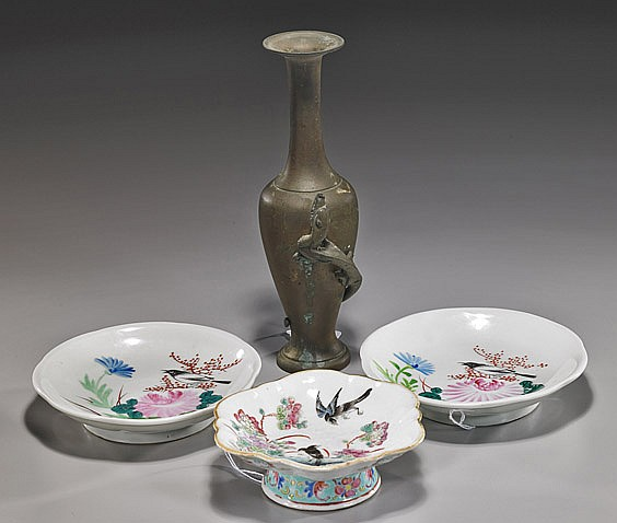 Antique Japanese Bronze & 3 Chinese Plates