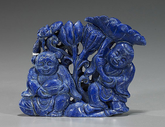 Chinese Carved Lapis Lazuli He-he Twins