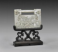 CARVED CELADON JADE PLAQUE: Lock