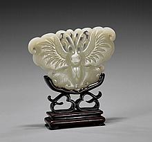 CARVED CELADON JADE PLAQUE: Moth
