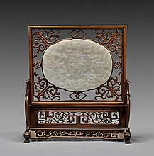 ANTIQUE CARVED WHITE JADE PLAQUE