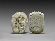 TWO CARVED CELADON JADE PENDANTS