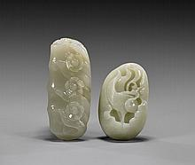 TWO CELADON JADE CARVINGS