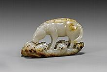 CARVED WHITE JADE HORSE