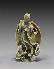 CARVED CELADON JADE IMMORTAL BEAUTY
