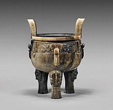 CARVED GRAY & BLACK JADE TRIPOD VESSEL