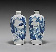 PAIR ANTIQUE BLUE & WHITE PORCELAIN VASES