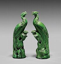 PAIR ANTIQUE GREEN GLAZED PHOENIX
