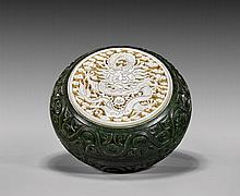 FINE CARVED SPINACH & WHITE JADE COVERED BOX