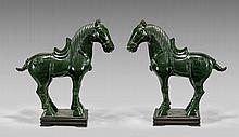 PAIR LARGE SPINACH JADE HORSES