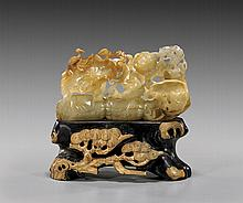 CARVED JADE/HARDSTONE GROUP: Cranes & Lotus