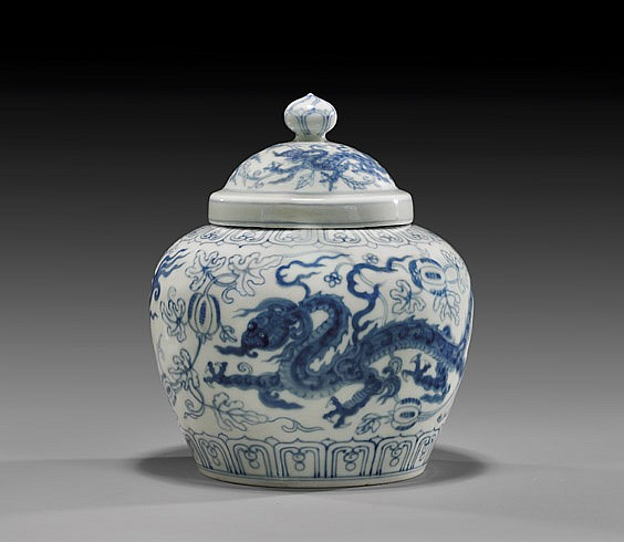 EXTREMELY RARE MING BLUE & WHITE JAR