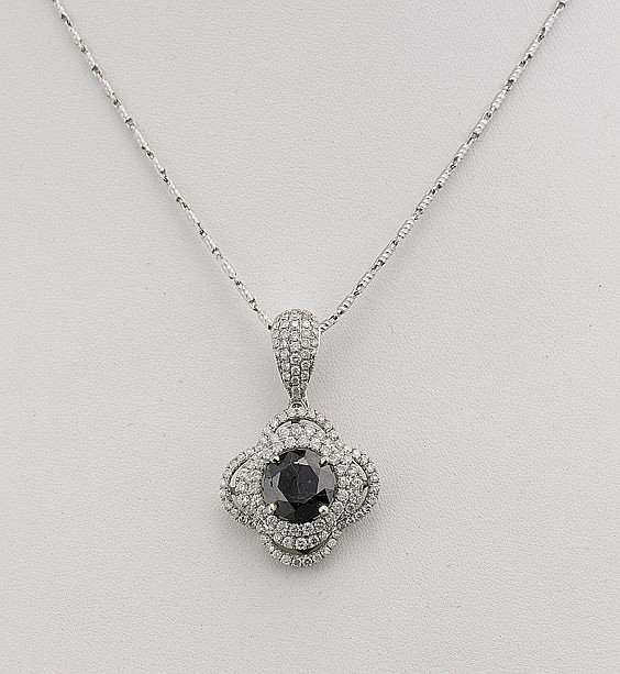 Black & White Diamond Pendant Necklace