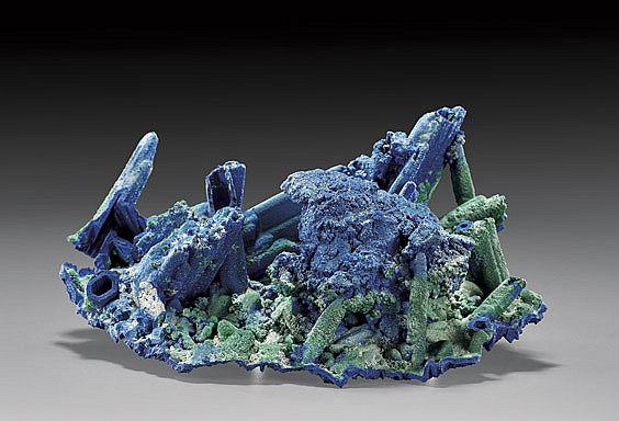 AZURITE AND MALACHITE AFTER GYPSUM