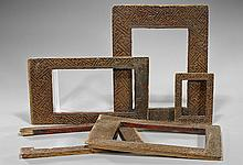 Group of Five Chinese Carved Wooden Frames