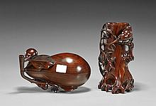 Two Chinese Wood Carvings: Brushpot & Gourd Box