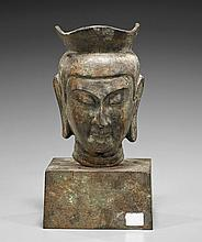 Bronze Crowned Head of Buddha